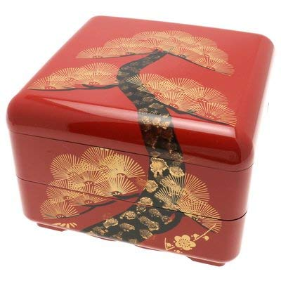 (Kotobuki Japanese Jubako Lacquer Box, 2-Tiered, Vermillion Pine #288-131)