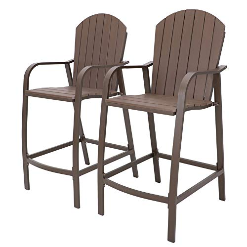 Crestlive Products Counter Height Bar Stools All Weather Patio Furniture with Heavy Duty Aluminum Frame Polywood in Brown Finish for Outdoor Indoor, 2 PCS Set Brown