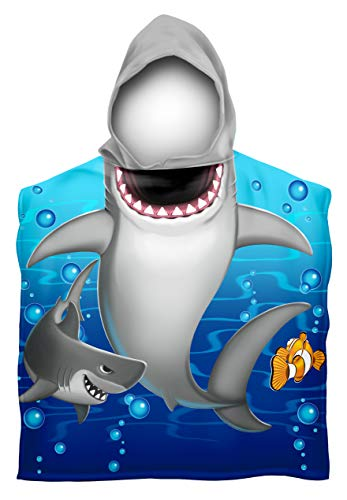 Dawhud Direct Kids Cotton Hooded Poncho Bath/Beach Towel (Shark)
