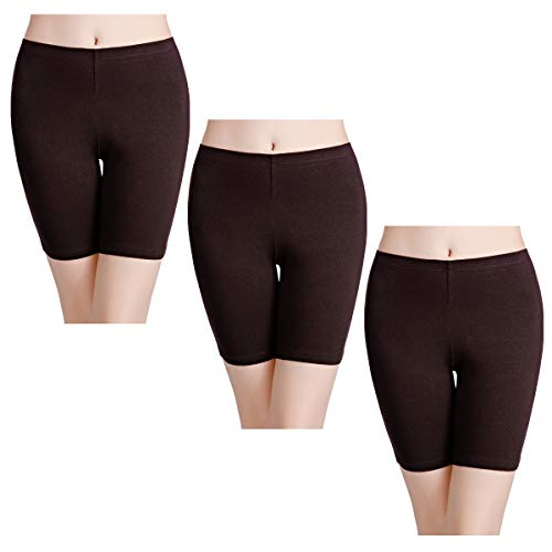 - wirarpa Women's Cotton Underwear Boy Shorts Under Dresses Long Leg Panties Anti Chafe Bloomers Chocolate Brown 3 Pack Size 10