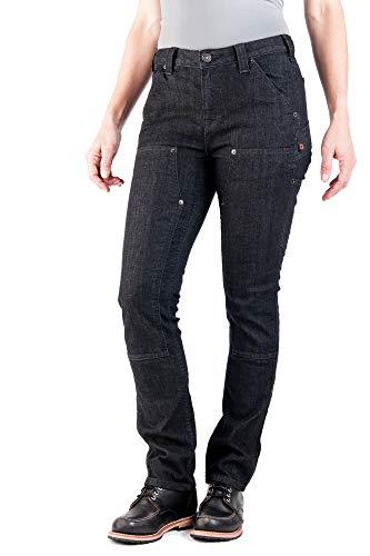 - Dovetail Workwear Utility Pants for Women - Maven Slim Fit Stretch Cargo Pant, Black Denim, Size 12, 30