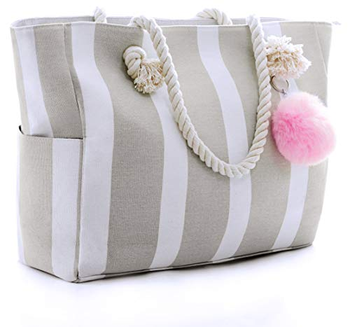 (Large Canvas Shoulder Bag - Beach Tote with Cotton Rope Handles and Cute Pompom)