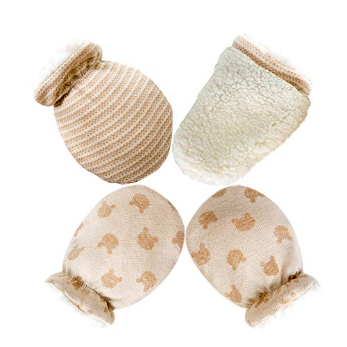 Scratch Free Newborn Mitten Organic Cotton Mitts Baby Glove for Infant 0-6 Month Unisex (Winter Tickened 1 Pairs)