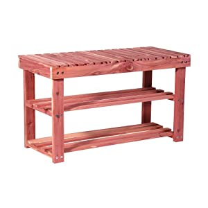 "Household Essentials CedarFresh 2-Tier Cedar Shoe Rack and Seat Bench, 31.5"" w x 17.5"" h x 12.4"" d"