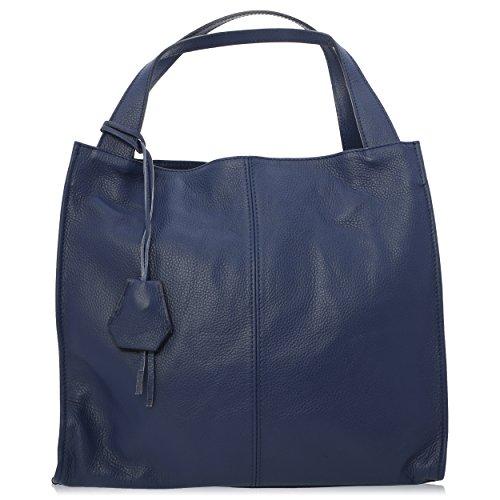 Florence Véritable Bleu Porté Cuir Femme pour 34 in 10 Sac cm épaule Made 31 Y1qwxR