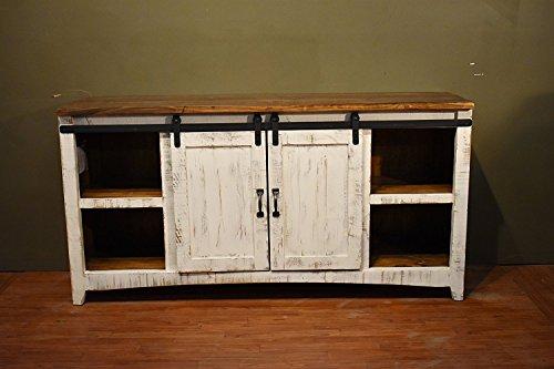 DIYHD 70'' Wooden Cabinet Double Sliding Barn Door Hardware Mini Closet Barn Door Track Kit To Hang 2 Door by DIYHD