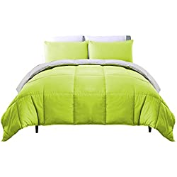 Luxe Bedding 3-PCS Reversible Down Alternative Quilted Duvet / Comforter Set - All Season Hotel Quality (Full/Queen, Lime / Gray)