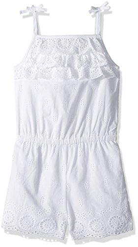Mud Pie Baby Girls Eyelet Ruffle Sleeveless Romper Playwear, White, 3T Eyelet Romper