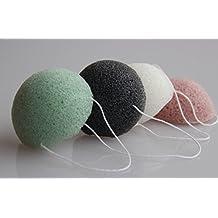 Set of 4 pcs Natural Konjac Konnyaku Facial Puff Face Wash Cleansing Sponge White black red green