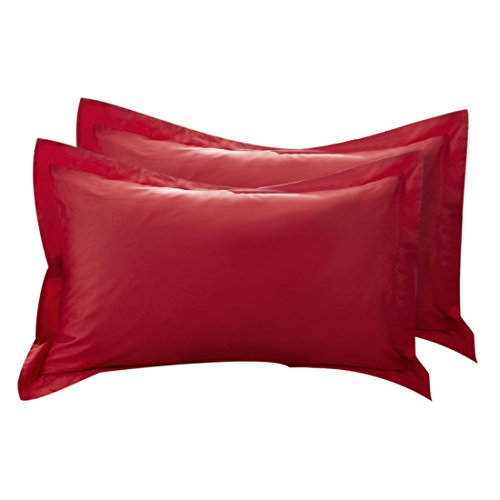 uxcell Pillow Shams Oxford Pillow Cases Egyptian Cotton 300 Thread Count Solid/Plain Pattern Red 20 x 36 Inch Set of ()