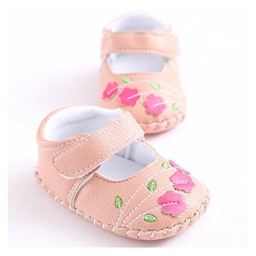 Meckior Infant Baby Girls Sandas Summer Soft Leather No-slip Princess Shoes (6-12months, pink 1) -