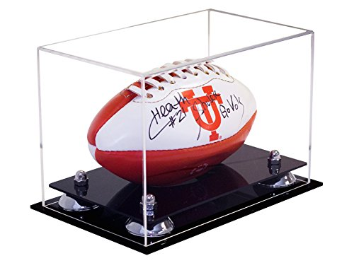 Deluxe Clear Acrylic Mini - Miniature (not Full Size) Football Display Case Silver Risers (A005-SR)