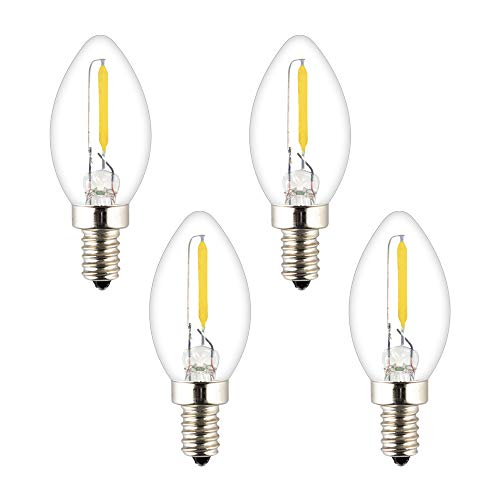 OPALRAY C7 Mini Torpedo Tip Night Light Bulb, LED Mini Candelabra Bulb, 0.5W Non-dimmable, E12 Candle Base, Clear Glass, Warm White 2700K 70Lumens, 5-10Watts Incandescent Equivalent, ()