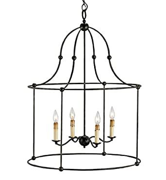 Currey and Company 9160 Fitzjames - Four Light Hanging Lantern, Mayfair Finish
