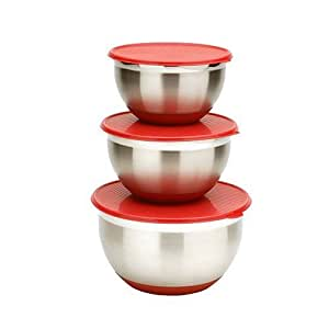 MIU France Set of 3 Stainless Steel Mixing Bowls with Lids, Silver/Red