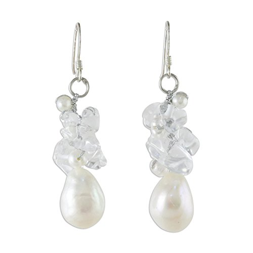 NOVICA Cultured Freshwater Pearl and Quartz Cluster Earrings with Sterling Silver Hooks, 'Icicles'