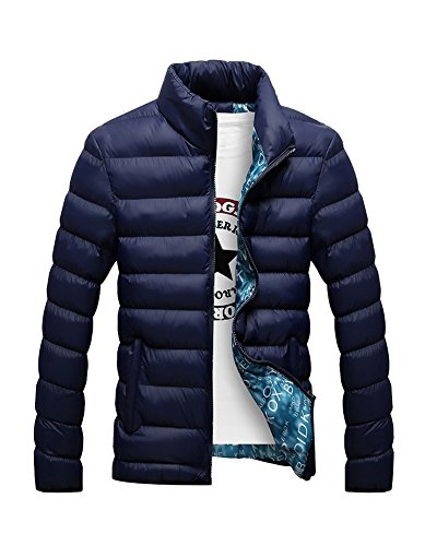 Men'S Padded Blue Warm DianShao Collar Thick Outwear Winter Sapphire Jacket Coat Stand dBI6qC