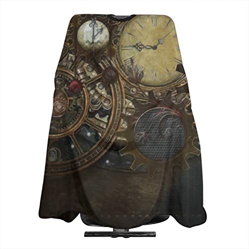 Steampunk Clocks1 Water and Stain Resistant Haircut Apron with Adjustable Snap Salon Cape Cloth