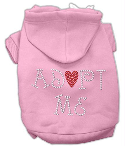 Mirage Pet Products 10-Inch Adopt Me Rhinestone Hoodie, Small, Pink