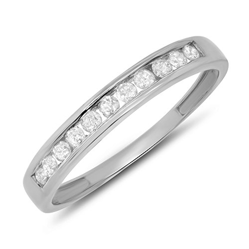 Jewel Tie 0.25 Carat (ctw) 10k Gold Round Diamond Stackable Ladies Channel Set Anniversary Ring Wedding Band 1/4 CT - White-gold, Size 5 (Band Princess Set Eternity Diamond)