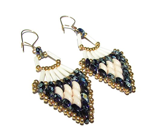 FAN SHAPE EARRINGS FLARED BEADED WITH DAGGERS AND DROPS EGYPTIAN STYLE FANS (Flared Earring)