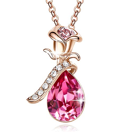 (CDE 18K Rose Gold Teardrop Necklace for Women Swarovski Pink Pendant Necklaces)