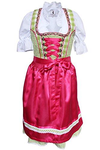 Alpenmärchen, 3tlg. Dirndl-Set - Trachtenkleid, Bluse, Schürze, Gr.42, grün-fuchsia, ALM3068