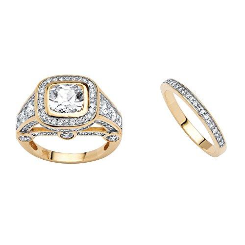 18K Yellow Gold-plated Cushion Cut Cubic Zirconia Engagement Anniversary Halo Bridge Ring Set Size 8