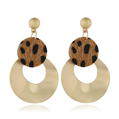 Fashion Leopard Print Drop Earrings Statement Geometric Dangle Earrings for Women Party Winter Jewelry Gift as Photo Show ()