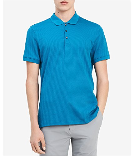 Men's Liquid Touch Micro Stripe Polo Shirt (Breeze Heather, L)