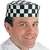 WIN-WARE Kitchen Chefs Cooking Skull Cap Big Black Check