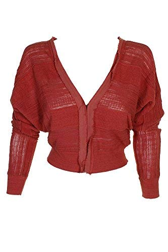 Free People Coral Textured Cropped Cardigan XS
