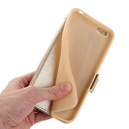 Vivo Y66 Case, SHUNDA Ultra Slim TPU inner Shell Shock Absorption Protective Case with Window Flip Leather Cover for Vivo Y66 / Vivo V5 Lite - Golden