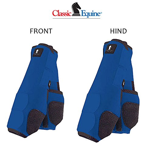 L- 4 PACK BLUE CLASSIC EQUINE LEGACY SYSTEM HORSE FRONT REAR HIND SPORT BOOT by Classic Equine