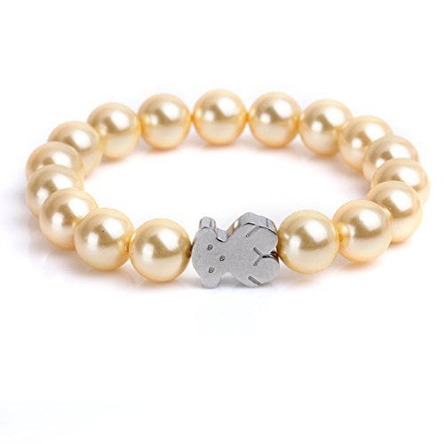 URs Women's Rose Golden Pearls Strand Bracelet with Stainless Steel Teddy Bear (Silver)