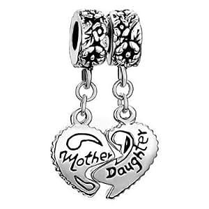 Madre y hija Beads Fit Pandora Chamilia Biagi pulsera. plata chapada