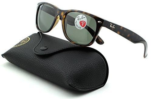 Ray-Ban RB2132 New Wayfarer Polarized Unisex Sunglasses (Tortoise Frame/Crystal Green Polarized Lens 902/58, - Lens Ray Ban Green Crystal