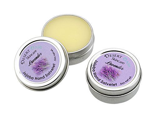 Artisan Jojoba Oil Lavender Hand Salve travel size, mildly scented with fresh Lavendar Blossoms, All Natural and Hand Made, .5 oz (14 gm), 2 pack