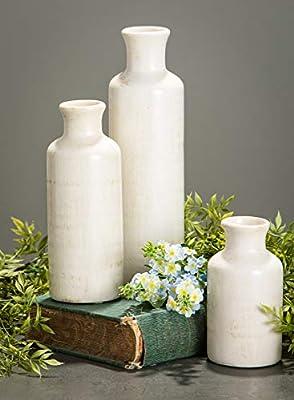 Sullivans Ceramic Vase Set, Various Sizes, Distressed White, Set of 3 (CM2333)