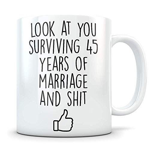 45th Anniversary Gift for Him or Her - Funny 45 Year Wedding Anniversary for Men and Women - Marriage Coffee Mug Set I Love You for Parents or Friends (Best Anniversary Message For Parents)