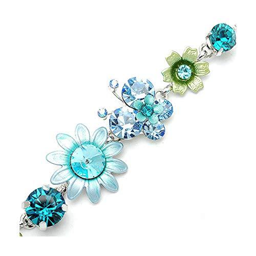 Austrian Crystal Butterfly Flower - Glamorousky Flower and Butterfly Bracelet with Blue Austrian Element Crystals (1083)