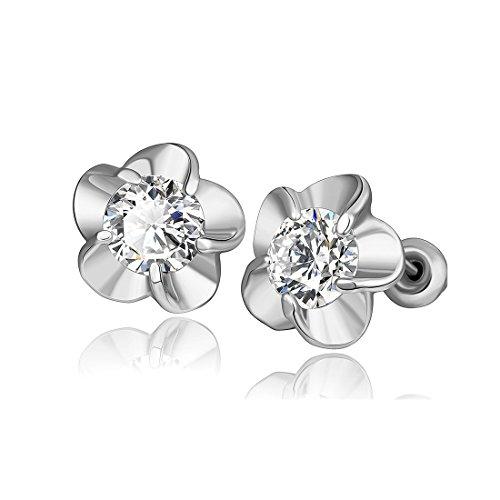 Mothers Day Earrings for Girls Jewelry Women Silver Hawaiian Plumeria Flower Cubic Zirconia Stud Earrings (Of Hawaiian Mother Pearl Flower)