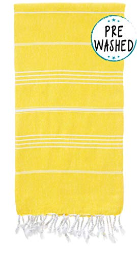 WETCAT Original Turkish Beach Towel (39 x 71) - Prewashed Fouta, 100% Cotton - Highly Absorbent, Quick Dry and Ultra-Soft - Washer-Safe, No Shrinkage - Stylish, Eco-Friendly - [Yellow] -