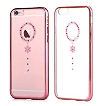 iPhone 6s Plus & iPhone 6 Plus,Comma Brand Cystal Polka Dot Design Case for iPhone 6s Plus & iPhone 6 Plus ,Very Beautiful Design , Case is More Beautiful Than Photo (Rose Gold With White Camelia)