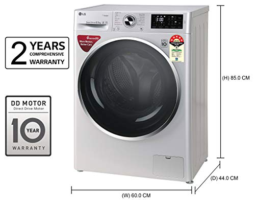LG 6.5 Kg 5 Star Inverter Fully-Automatic Front Loading Washing Machine (FHT1265ZNL, Luxury Silver, 6 Motion Direct… 2021 June Fully-automatic front load washing machine: best wash quality, energy and water efficient Energy Rating 5 Star: best in class efficiency Capacity 6.5 kg: Suitable for families with 3 to 4 members
