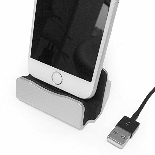 Original HubLines® - Premium- Design- Lade und Docking-Station - Micro-USB Silber - Desktop-Dock/Ladegerät/Ladehalterung für Smartphones und Handys - Halter/Ständer/Cradle/Ständer/Pack/Dock/MiniDock/Ladeschale