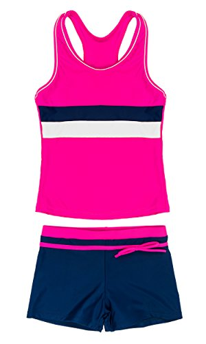 Wocau Little Girls Two Pieces Swimsuit Boyshort Fashion Tankini Set (Rose, 5-6=L) by Wocau