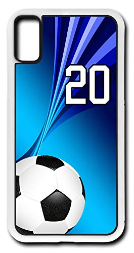 iPhone X Case Soccer SC006Z Choice of Any Personalized Number Phone Case by TYD Designs in White Plastic with Team Player Jersey Number 20
