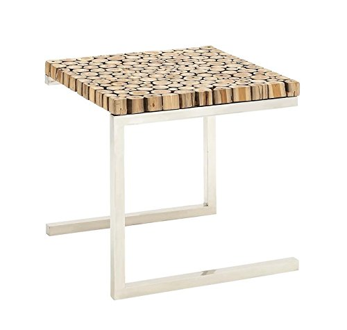 "Deco 79 90902 Stainless Steel Teak Wood Side Table, 22"" x 20"", Brown - Suitable to use as a decorative item Unique home decor This product is manufactured in Indonesia - patio-tables, patio-furniture, patio - 41ANBHs1nvL -"