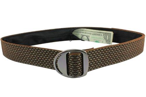 Bison Designs Crescent Money 38mm USA Made Gunmetal Buckle Travel Belt, Brickyard, Medium/38-Inch